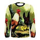 New Rooster Bird Chickens Sublimated Men's Long Sleeve T-shirt S M L XL 2XL 3XL