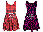 Womens tartan print sexy skater dress ladies check belted party dress size 8-20