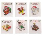 Novelty Christmas Flashing Magnetic Brooch Badge Xmas Santa Snowman Tree Rudolph