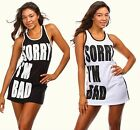 New! Trendy Sorry I'm Bad Graphic Mini Dress