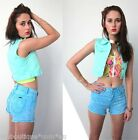 [SALE] forever hot PASTEL MINT CROP DENIM WAISTCOAT VEST TOP 6 8 10 12 new