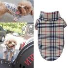 Pet Puppy Dog Plaid T Shirt Lapel Coat Cat Jacket Clothes Apparel Costume XS -XL