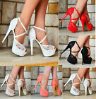 LADIES LACE EMBELLISHED PLATFORM HIGH HEEL ANKLE STRAPS PEEP TOE SHOES UK 3-10