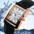 Luxury Women Lady Waterproof Rigid Glass Leather Analog Quartz Swimming Watch