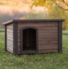 Log Cabin Dog House Weather Resistant Wood Large Outdoor Pet Shelter Cage Kennel