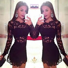 Women Lace Sexy Mini Dress Bodycon Party Evening Long Sleeve Hollow Out Ladies