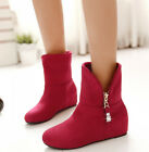 Womens Elegant Round Toe Zipper Faux Suede Flat Wedge Heel New Sexy Ankle Boots