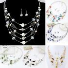 1 Set Women Bridal Wedding Jewelry Crystal Rhinestone Beads Earrings Necklace