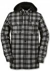 Volcom FIELD BONDED FLANNEL Hoodie G0151607 Black White AUTHENTIC Mens NEW 2016