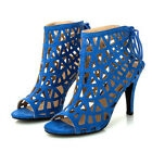 WOMEN SHOES DESIGNER BLUE HIGH HEEL CAGED STRAPPY SANDAL LACE BACK
