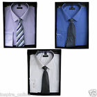 MEN'S SHIRT TIE SET PIERRE ROCHE COTTON WORK SMART OFFICE BUSINESS PARTY SHIRTS