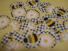 Pre Cut One Inch BEE BEES BUMBLEBEE PLAID Bottle Cap Images! FREE SHIP