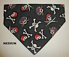 Black Skulls Crossbones Pirates Hearts Over Collar Slide On Pet Dog Bandana