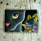 Accessory Purse Cosmetics Bag black Cat 557 butterfly art painting L.Dumas