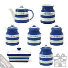Kitchen Storage Tins Country Style Blue Band Retro Cool Vintage Look Canisters