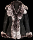 Elizabeth Short Black / Grey Ladies Real Toscana Sheepskin Leather Jacket Coat