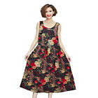 Women Loose Plus Size Casual Slim Retro Blossom Floral Sleeveless Middy Dress