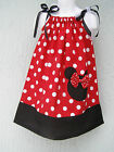 Minnie Applique Girl Pillowcase Dress Size 1T 2T 3T Mult-Color Hand Made Adjust.