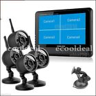 "7"" TFT-LCD Monitor Wireless 4CH Quad DVR With 4PCS IR Camers Home Security Syste"