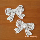 Cartoon Bow Embroidery Cotton Lace Applique White Deco Cute Sewing DIY