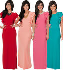 NEW Womens Ruffled Layered Short Sleeve Slender Fit Maxi Dress XS S M L XL 2X