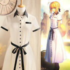 Fate Stay Night Zero Saber Long Dress Retro Kleid Cosplay Kostüm Costume Comic