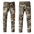 New Mens France Style Camouflage Moto Pants *Biker JEANS Military Trousers B954C