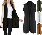 New Ladies Womens Crepe Sleeveless Waistcoat Duster Jacket Smart Look Blazer