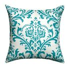 Turquoise White Pillow, Traditions Turquoise Accent Pillow, Damask Print Pillow