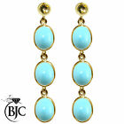 BJC® 9ct Yellow Gold Natural Turquoise Oval Triple Drop Dangling Studs Earrings