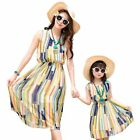 New summer  Family dresses children Girls Dress Yellow striped women girl dress