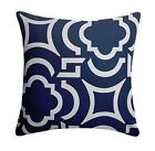 Geometric Outdoor Pillow, Carmody Navy and Ivory Throw Pillow, Navy Deck Pillow
