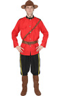 Mens Canadian Mountie Police Red Uniform Outfit Fancy Dress Costume