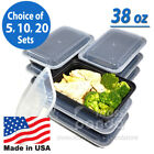 38oz Meal Prep Food Containers with Lids, Reusable Microwavable Plastic BPA free