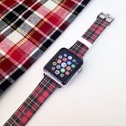 Red Tartan Pattern on Genuine Leather Strap for Apple Watch Series 1 2 38 42 mm