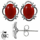 BJC® 9ct White Gold Natural Red Coral Single Stud Earrings Studs 1.50ct