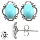 BJC® 925 Sterling Silver Natural Turquoise Single Stud Earrings Studs 1.50ct