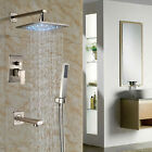 "10""LED Brass Brushed Nickel  Wall Mounted Rainfall Shower Set Bathroom Mixer Tap"