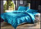 LAKE BLUE SOLID SATIN SILK 4PC(DUVET COVER SET+FITTED SHEET) IN ALL USA SIZE
