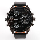 OULM 2 Time Zone Dial Men's Military Quartz Sport Leather Band Wrist Watch