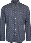Relco Mens Navy Royal Blue Paisley Long Sleeved Button Down Vintage Shirt Mod