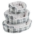 ME & MY GREY CHECK EXTRA THICK/SOFT PET BED DOG/PUPPY SMALL/MEDIUM/LARGE S/M/L