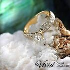 Pave Diamond Engagement Ring 1.24 TCW SI/F-G 14k Yellow Gold Size 5 Enhanced