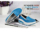 Stylish Women's Ladies Leather Casual Wedge Platform Trainers White/Blue/Yellow