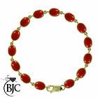 BJC® 9ct Yellow Gold Natural Red Coral 21.00ct Oval Gemstone Tennis Bracelet 7.5