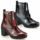Ladies Womens Chunky Block Heel Army Biker Patent Brogue Ankle Boots Shoes Size