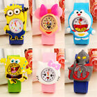 Fashion Cartoon Slap Snap On Silicone Wrist Watch Boys Girls Children Kids Watch
