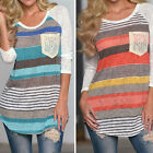 Women Printed Stripe Irregular #G Long-Sleeved T-Shirt Leisure Tops with Pocket