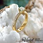 Round Diamond Engagement Ring Size 7.5 14k Solid Gold 1.36 TCW VS D-F Enhanced