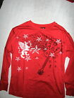 Top Heavy-Boys Red Long Sleeve T Shirt w/ Black & White Guitar Graphic-New